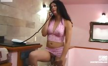 Dark-haired Tranny In Lacy Pink Undies Doing Numbers Game Before Rough Anal