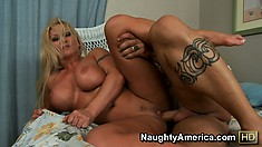 Inked up blonde tramp gets pounded into an orgasm doggy style