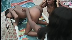 Ebony sluts with nice chocolate pussies get each other going