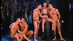 Hung dudes wearing leather harnesses have a blast fucking each other