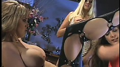 Monique Dane and her two lesbian pals go all out with their toys and tongues