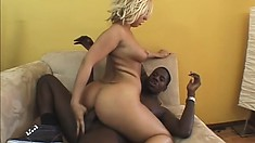Busty blonde with a big booty loves to have a huge black rod stretching her holes