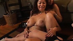 A bunch of irresistible lesbian starlets have an out-of-control orgy