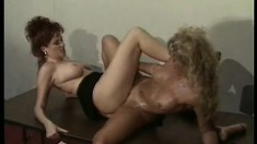 Beautiful lesbian ladies share a huge toy between their pussies