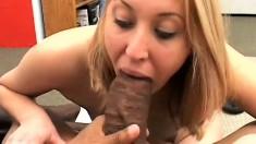 Cute blonde college girl has two huge black dicks stretching her cunt