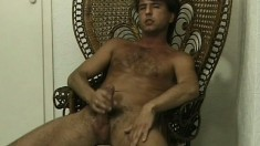 Handsome hairy stud enjoys rubbing his hard cock for the camera