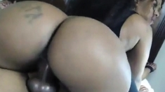 Big ass ho toys ass and sucks two cocks in threeway